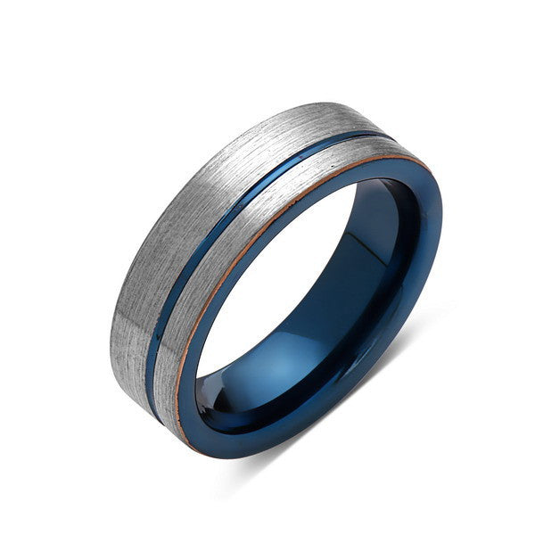 Blue Tungsten Wedding Band - Gray Brushed Tungsten Ring - 6mm - Mens Ring - Tungsten Carbide - Engagement Band - Comfort Fit