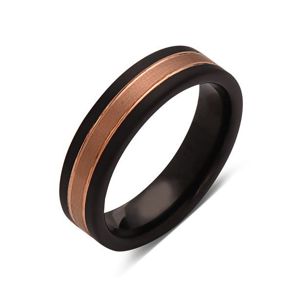 Rose Gold Tungsten Wedding Band - Black Brushed Tungsten Ring - 6mm - Mens Ring - Tungsten Carbide - Engagement Band - Comfort Fit - LUXURY BANDS LA
