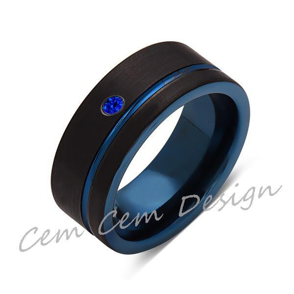 8mm,New,Blue Sapphire,Black Brushed, Blue Groove,Tungsten Ring,Mens Wedding Band,Blue Ring,Comfort Fit - LUXURY BANDS LA