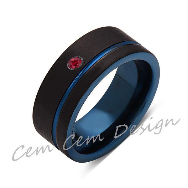 8mm,New,Red Ruby,Black Brushed, Blue Groove,Tungsten Ring,Mens Wedding Band,Blue Ring,Comfort Fit - LUXURY BANDS LA