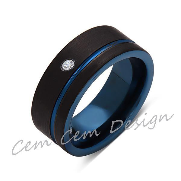 8mm,New,Diamond,Black Brushed, Blue Groove,Tungsten Ring,Mens Wedding Band,Blue Ring,Comfort Fit - LUXURY BANDS LA