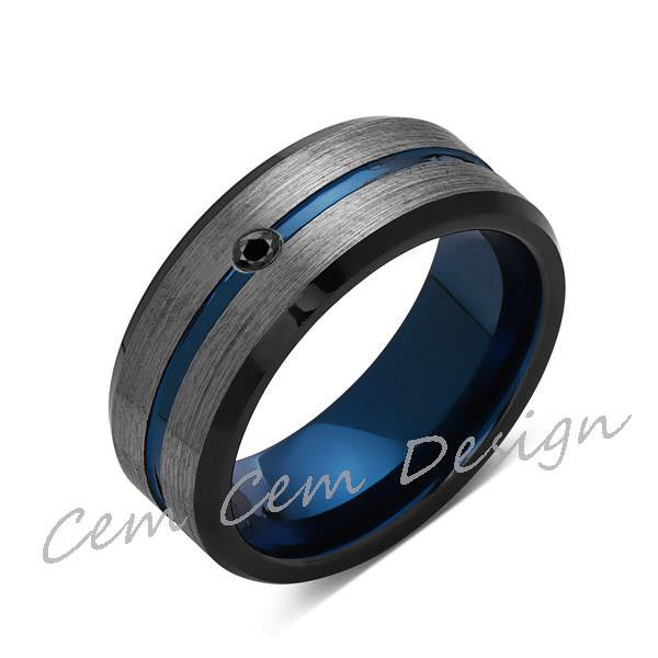 8mm,Black Diamond,Brushed Gun Metal,Gray and Black,Blue Tungsten Ring,Mens Wedding Band,Comfort Fit - LUXURY BANDS LA