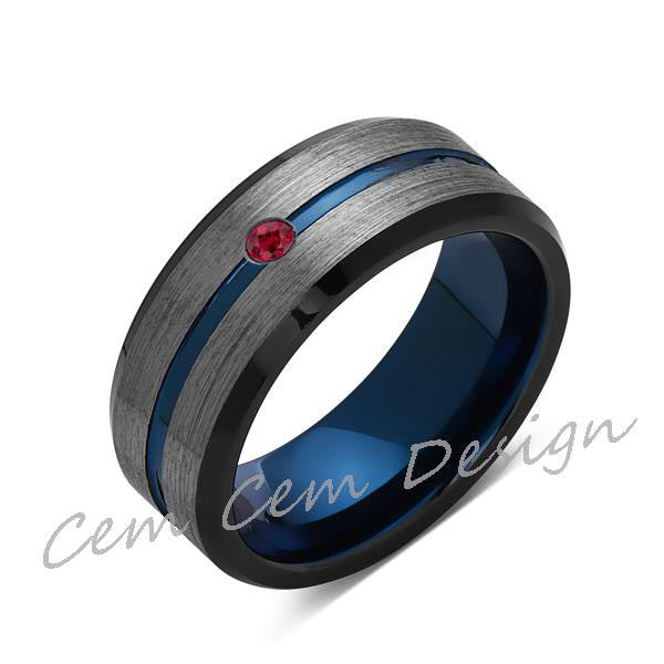8mm,Red Ruby,Brushed Gun Metal,Gray and Black,Blue Tungsten Ring,Mens Wedding Band,Comfort Fit - LUXURY BANDS LA