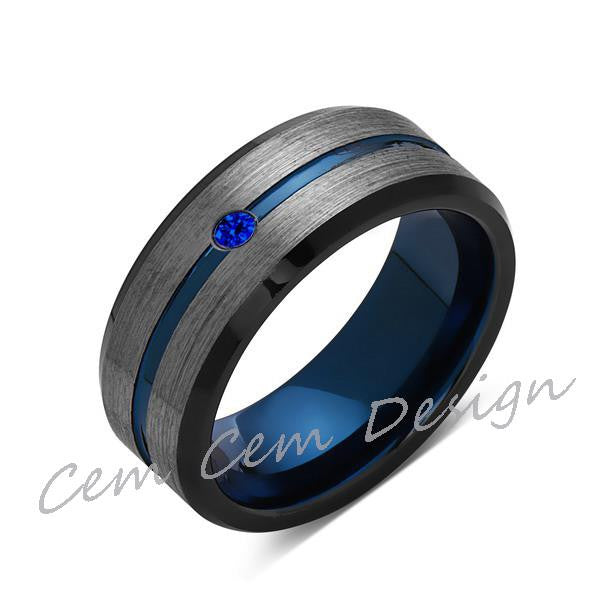 8mm,Blue Sapphire,Brushed Gun Metal,Gray and Black,Blue Tungsten Ring,Mens Wedding Band,Comfort Fit - LUXURY BANDS LA