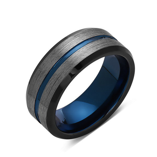 Tungston Carbide Wedding Rings.Blue Tungsten Wedding Band Gray Brushed Tungsten Ring 8mm Mens Ring Tungsten Carbide Engagement Band Comfort Fit
