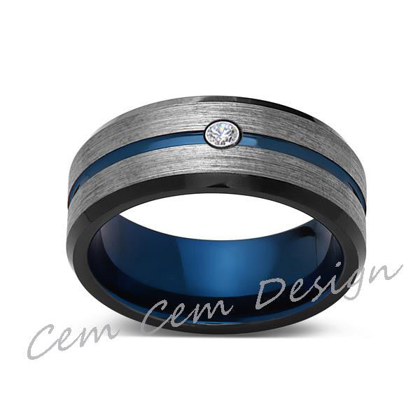 8mm,Diamond,Brushed Gun Metal,Gray and Black,Blue Tungsten Ring,Mens Wedding Band,Comfort Fit - LUXURY BANDS LA