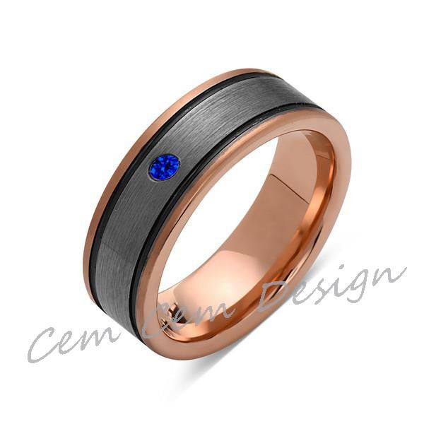 8mm,Blue Sapphire,New,Unique,Rose Brushed,Rose Gold, Black Grooves,Tungsten Ring,Mens Wedding Band,Comfort Fit - LUXURY BANDS LA