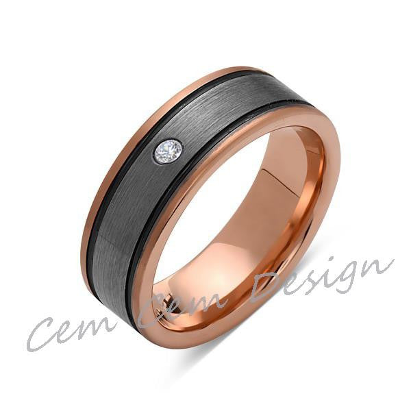 8mm,Diamond,New,Unique,Rose Brushed,Rose Gold, Black Grooves,Tungsten Ring,Mens Wedding Band,Comfort Fit - LUXURY BANDS LA