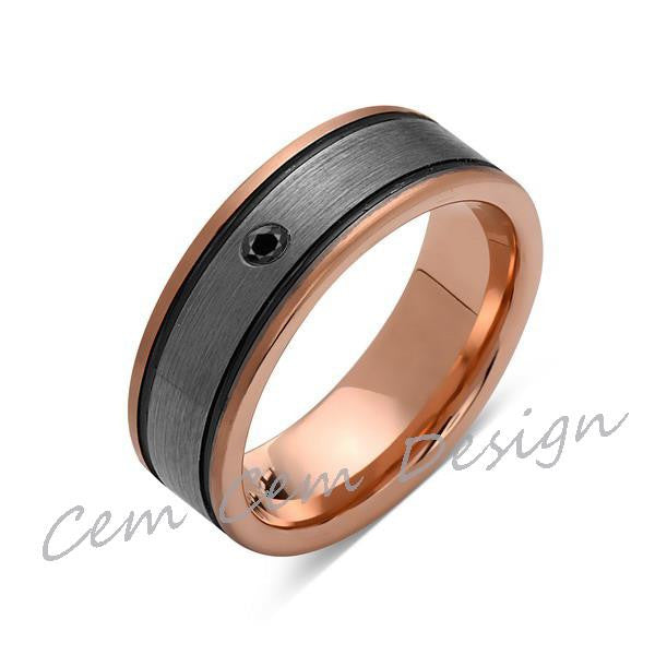 8mm,Black Diamond,New,Unique,Rose Brushed,Rose Gold, Black Grooves,Tungsten Ring,Mens Wedding Band,Comfort Fit - LUXURY BANDS LA