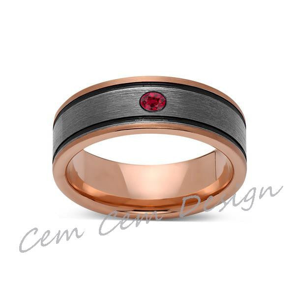8mm,Red Ruby,New,Unique,Rose Brushed,Rose Gold, Black Grooves,Tungsten Ring,Mens Wedding Band,Comfort Fit - LUXURY BANDS LA