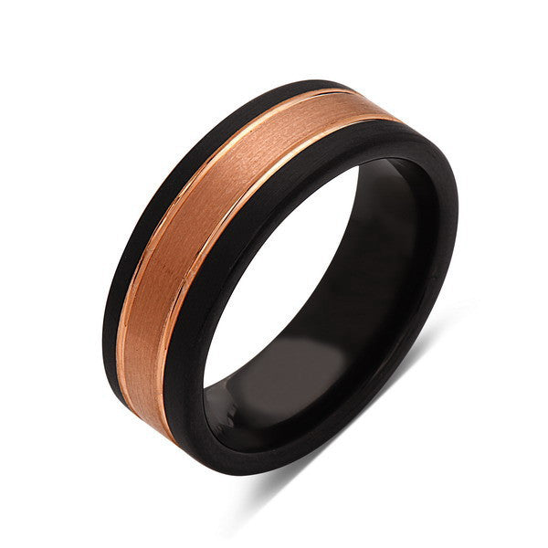 Rose Gold Tungsten Wedding Band - Black Brushed Tungsten Ring - 8mm - Mens Ring - Tungsten Carbide - Engagement Band - Comfort Fit - LUXURY BANDS LA