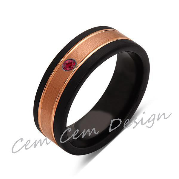 8mm,Unique,Red Ruby,Brushed Rose Gold, Black Brushed,Tungsten Ring,Mens Wedding Band,Comfort Fit - LUXURY BANDS LA