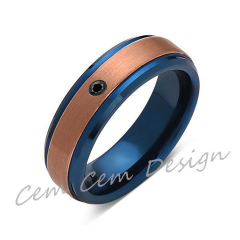 6mm,Black Diamond,Brushed Rose Gold and Blue,Tungsten Ring,Mens Wedding Band,Blue Mens Ring,Comfort Fit - LUXURY BANDS LA