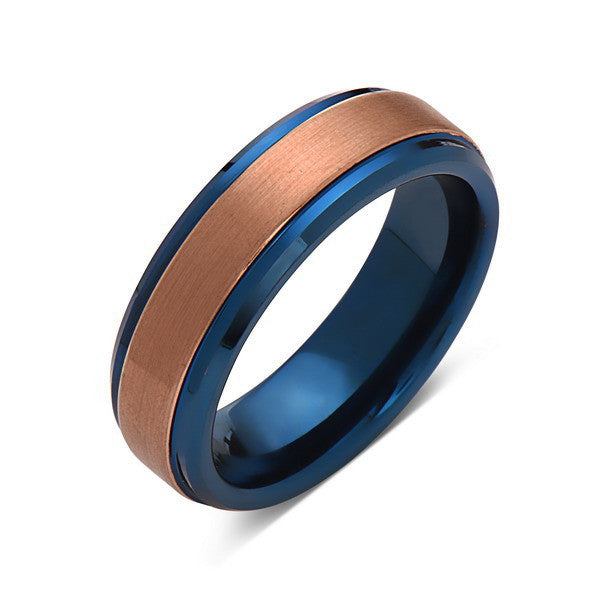 Blue Tungsten Wedding Band - Rose Gold Tungsten Ring - 6mm- Mens Ring - Tungsten Carbide - Engagement Band - Comfort Fit - LUXURY BANDS LA