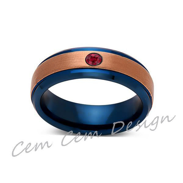 6mm,Red Ruby,Brushed Rose Gold and Blue,Tungsten Ring,Mens Wedding Band,Blue Mens Ring,Comfort Fit - LUXURY BANDS LA