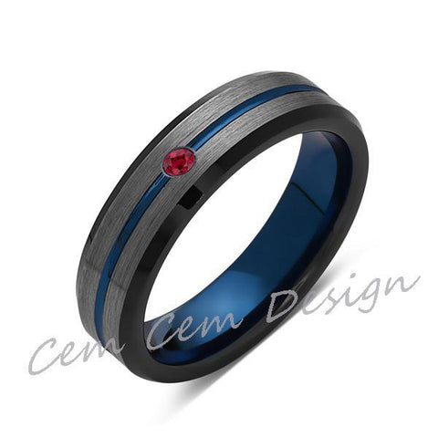 6mm,Red Ruby,Brushed Gun Metal,Gray and Black,Blue Tungsten Ring,Mens Wedding Band,Comfort Fit - LUXURY BANDS LA