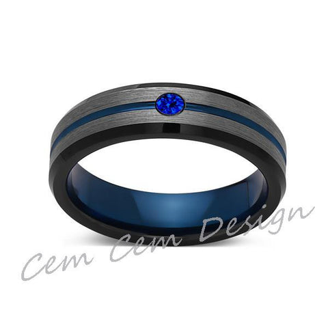 6mm,Blue Sapphire,Brushed Gun Metal,Gray and Black,Blue Tungsten Ring,Mens Wedding Band,Comfort Fit - LUXURY BANDS LA