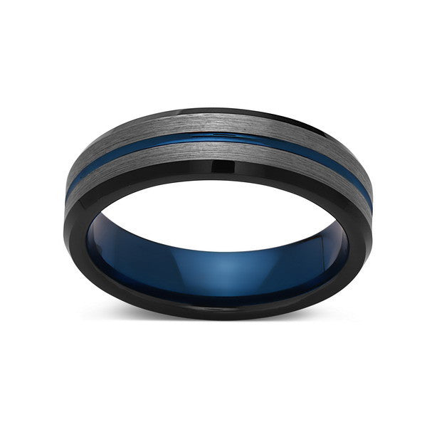 Blue Tungsten Wedding Band - Gray Brushed Tungsten Ring - 6mm - Mens Ring - Tungsten Carbide - Engagement Band - Comfort Fit - LUXURY BANDS LA