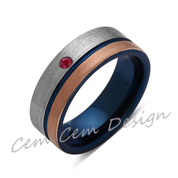 8mm,Red Ruby,Brushed Rose Gold,Gun Metal Gray and Blue,Tungsten Ring,Mens Wedding Band,Blue Mens Ring - LUXURY BANDS LA