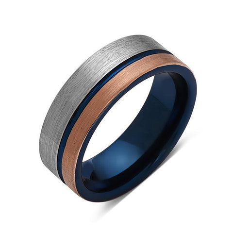 Blue Tungsten Wedding Band   Rose Gold Brushed Tungsten Ring   8mm   Mens  Ring ...