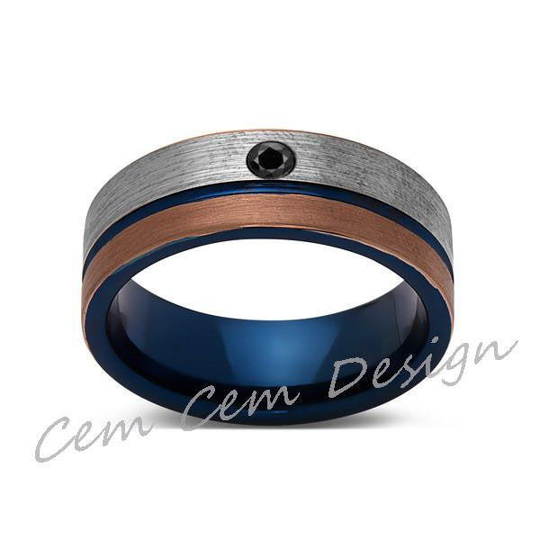 8mm,Black Diamond,Brushed Rose Gold,Gun Metal Gray and Blue,Tungsten Ring,Mens Wedding Band,Blue Mens Ring - LUXURY BANDS LA