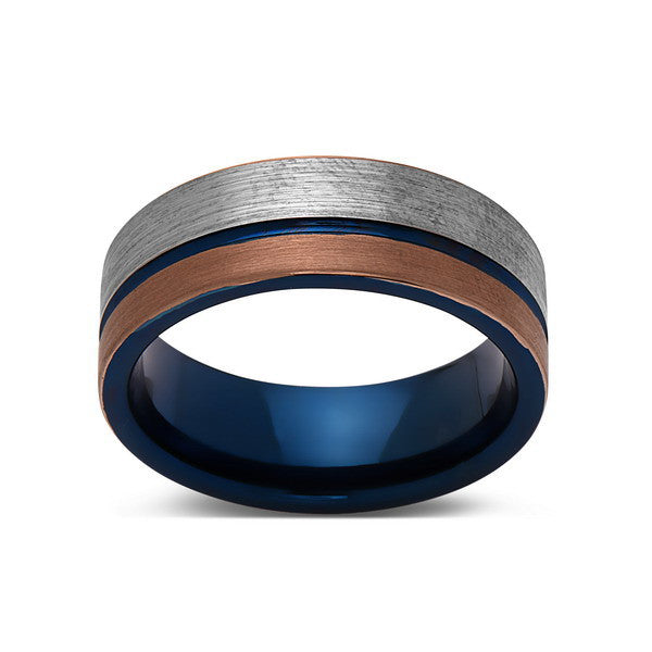 Blue Tungsten Wedding Band - Rose Gold Brushed Tungsten Ring - 8mm - Mens Ring - Brushed Tungsten Carbide - Engagement Band - Comfort Fit - LUXURY BANDS LA