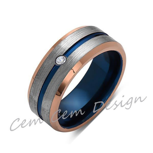 8mm,Diamond,Brushed Rose Gold,Gray and Blue,Tungsten Ring,Matching ,Mens Wedding Band,Blue Ring,Comfort Fit - LUXURY BANDS LA