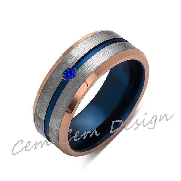 8mm,Blue Sapphire,Brushed Rose Gold,Gray and Blue,Tungsten Ring,Matching ,Mens Wedding Band,Blue Ring,Comfort Fit - LUXURY BANDS LA