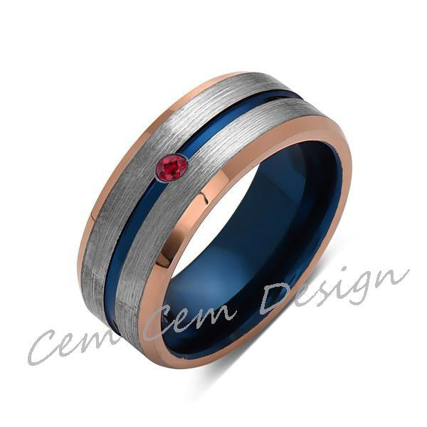 8mm,Red Ruby,Brushed Rose Gold,Gray and Blue,Tungsten Ring,Matching ,Mens Wedding Band,Blue Ring,Comfort Fit - LUXURY BANDS LA