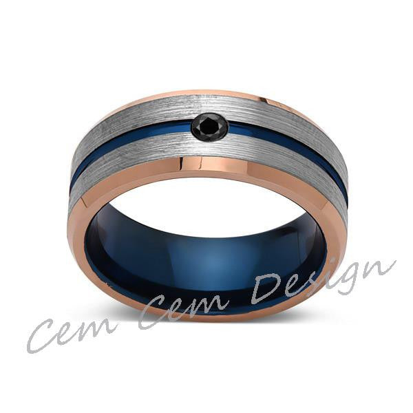 8mm,Black Diamond,Brushed Rose Gold,Gray and Blue,Tungsten Ring,Matching ,Mens Wedding Band,Blue Ring,Comfort Fit - LUXURY BANDS LA