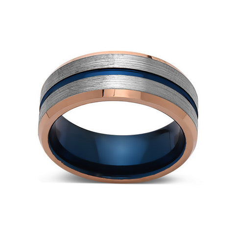 Blue Tungsten Wedding Band - Rose Gold Tungsten Ring - 8mm- Mens Ring - Brushed Tungsten Carbide - Engagement Band - Comfort Fit - LUXURY BANDS LA