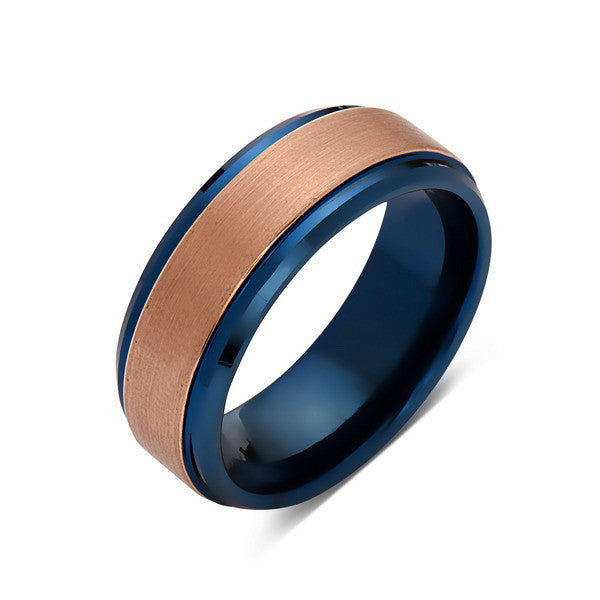 Blue Tungsten Wedding Band - Rose Gold Brushed Tungsten Ring - 8mm- Mens Ring - Tungsten Carbide - Engagement Band - Comfort Fit - LUXURY BANDS LA