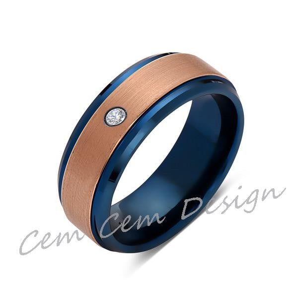 8mm,Diamond,Brushed Rose Gold and Blue,Tungsten Ring,Mens Wedding Band,Blue Mens Ring,Comfort Fit - LUXURY BANDS LA