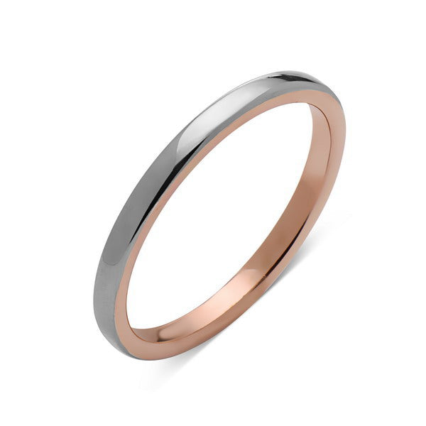 Rose Gold Tungsten Wedding Band - Gray High Polish Ring - 2mm Bridal Band - Engagement Ring - Bridal Band - LUXURY BANDS LA