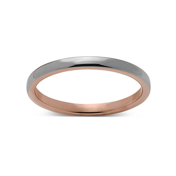 Rose Gold Tungsten Wedding Band - Gray High Polish Ring - 2mm Bridal Band - Engagement Ring - LUXURY BANDS LA