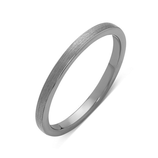 Tungsten Wedding Band - Gray Brushed Ring - 2mm Bridal Band - Engagement Ring