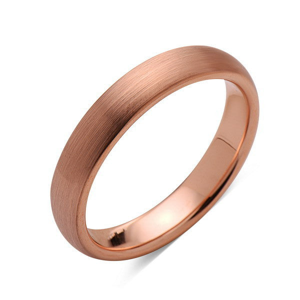 Rose Gold Tungsten Wedding Band - Rose Gold Brushed Ring - 4mm Bridal Band - Engagement Ring - LUXURY BANDS LA