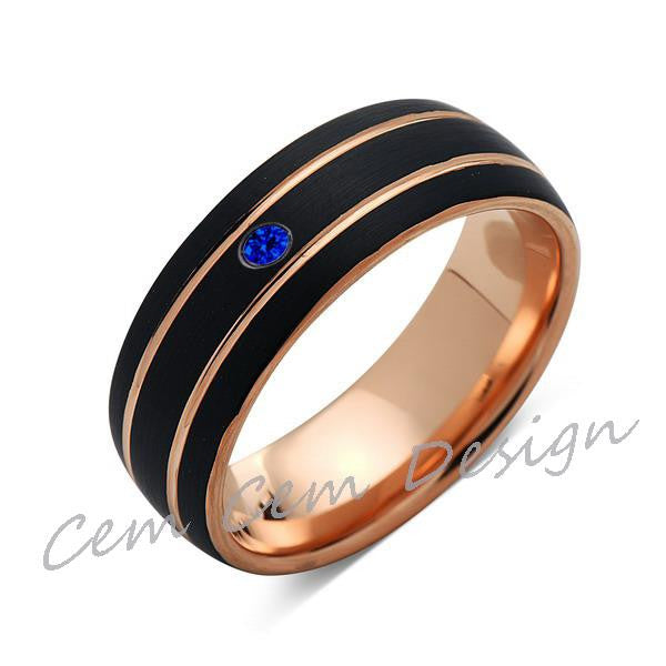 8mm,Unique,Blue Sapphire,Black Brushed,Rose Gold,Tungsten Ring,Rose Gold,Men's Wedding Band,Mens Band,Comfort Fit - LUXURY BANDS LA