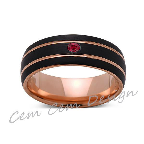 8mm,Unique,Red Ruby,Black Brushed,Rose Gold,Tungsten Ring,Rose Gold,Men's Wedding Band,Mens Band,Comfort Fit - LUXURY BANDS LA