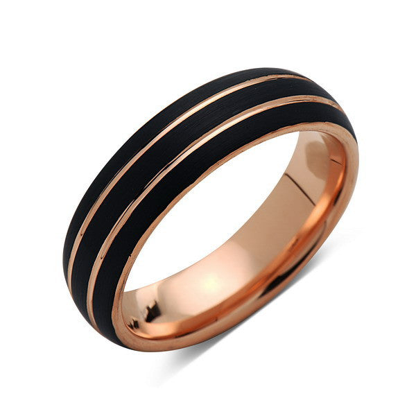 6mm,Unique,Black Brushed,Rose Gold Grooves,Tungsten Ring,Rose Gold,Men's Wedding Band,Unisex,Comfort Fit - LUXURY BANDS LA