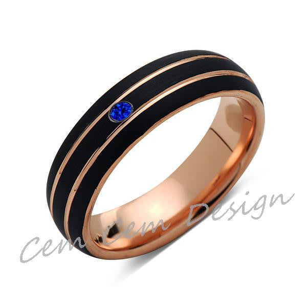 6mm,Unique,Blue Sapphire,Black Brushed,Rose Gold,Tungsten Ring,Rose Gold,Men's Wedding Band,Mens Band,Comfort Fit - LUXURY BANDS LA