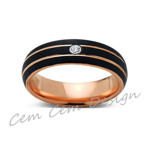 6mm,Unique,Diamond,Black Brushed,Rose Gold,Tungsten Ring,Rose Gold,Men's Wedding Band,Mens Band,Comfort Fit - LUXURY BANDS LA