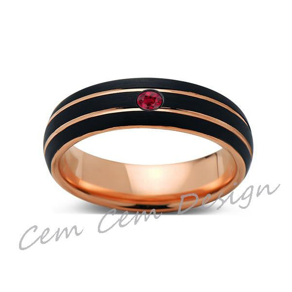 6mm,Unique,Red Ruby,Black Brushed,Rose Gold,Tungsten Ring,Rose Gold,Men's Wedding Band,Mens Band,Comfort Fit - LUXURY BANDS LA
