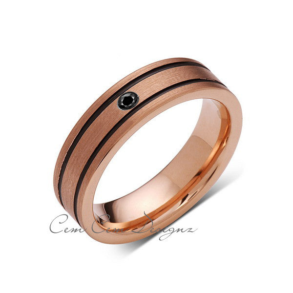 6mm,New,Black Diamond,Rose Brushed,Rose Gold,Black Grooves,Tungsten Ring,Mens Wedding Band,Comfort Fit - LUXURY BANDS LA