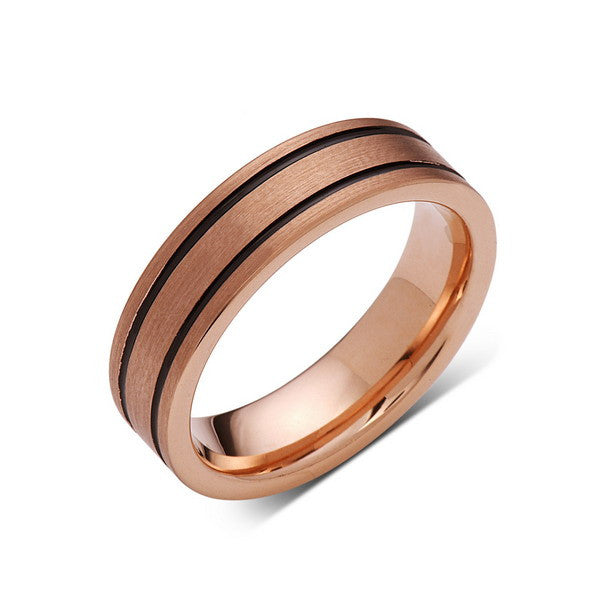 6mm,New,Unique,Rose Brushed,Rose Gold, Black Grooves,Tungsten Ring,,Wedding Band,Unisex,Comfort Fit - LUXURY BANDS LA