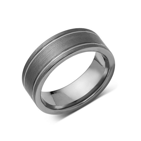 a581e32322e12 Gray Brushed Tungsten Ring - Pipe Cut - Groove - Gunmetal - 8mm -  Engagement Band
