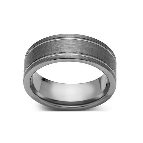 8mm,New,Unique,Gun Metal Gray Brushed,Tungsten Rings,Wedding Band,Unisex,Comfort Fit - LUXURY BANDS LA