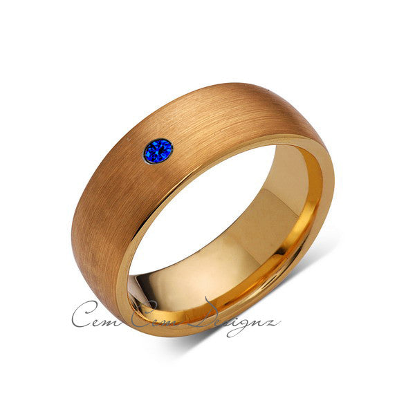 8mm,Mens,Blue Sapphire,Brushed,Yellow Gold,Tungsten Ring,Yellow Gold,Wedding Band,Comfort Fit - LUXURY BANDS LA