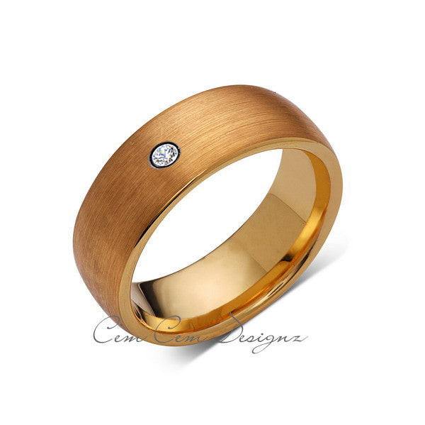 8mm,Mens,Diamond,Brushed,Yellow Gold,Wedding Band,unique,Yellow Gold,Tungsten Ring,Comfort Fit - LUXURY BANDS LA