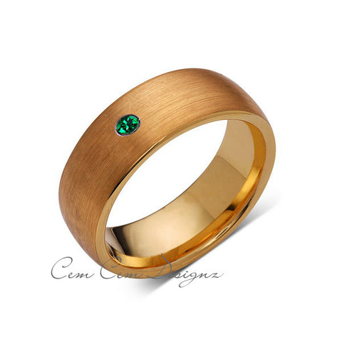8mm,Mens,Green Emerald,Brushed,Yellow Gold,Tungsten Ring,Yellow Gold,Birthstone,Wedding Band,Comfort Fit - LUXURY BANDS LA